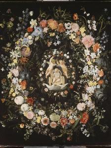 Guirlande de fleurs (Seghers) entourant un médaillon représentant le triomphe de l'Amour by Daniel Seghers