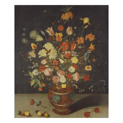 Roses, Tulips, Lilies, an Iris, a Fritillary and Other Flowers in a Painted Vase with Fruit on a…