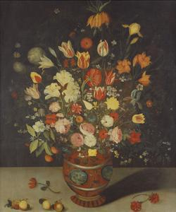 Roses, Tulips, Lilies, an Iris, a Fritillary and Other Flowers in a Painted Vase with Fruit on a… by Daniel Seghers