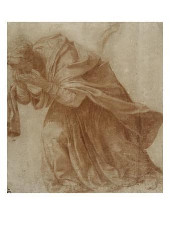 Femme drapée, penchée en avant portant ses mains devant ses yeux