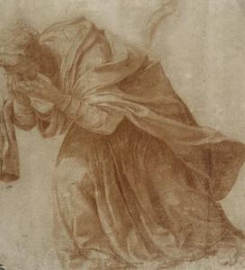 Femme drapée, penchée en avant portant ses mains devant ses yeux by Daniele Da Volterra