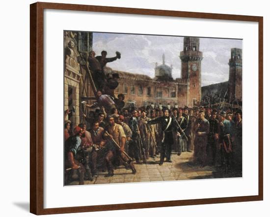 Daniele Manin Demands Austrian Surrender of the Venetian Arsenal, 1848-Vincenzo Coronelli-Framed Giclee Print