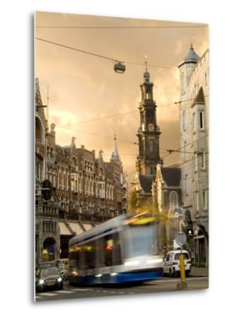 A Tram Near Westerkerk Church and Prisengracht Street