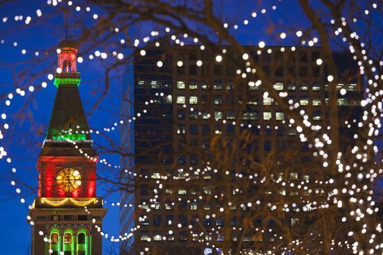 Source · Daniels and Fisher Clock Tower with Christmas Lights Denver