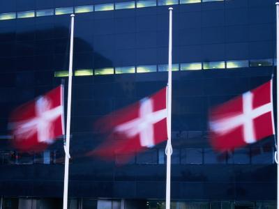 Danish Flags Flying Outside the Black Diamond Building, Copenhagen, Denmark-Martin Moos-Photographic Print