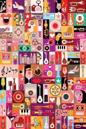Art Collage, Musical Vector Illustration. Patchwork Seamless Wallpaper.