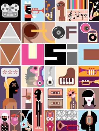Musical Collage of Various Images - Colorful Vector Illustration with Text Art of Music .