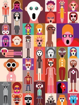 Vector Collage of Many Shocked Faces. Set of Surprised People Portraits.