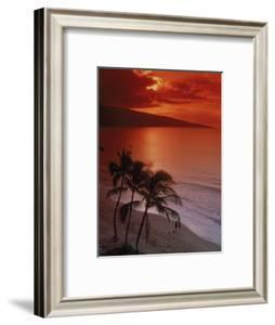Aerial of Tropical Beach at Sunset, Maui, HI by Danny Daniels