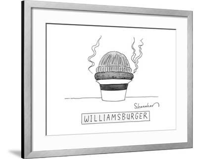 A burger is steaming between a beanie and a fedora. - New Yorker Cartoon by Danny Shanahan