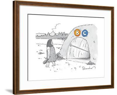 "(A caveman walks past a tunnel labeled ""BC"") - New Yorker Cartoon by Danny Shanahan"