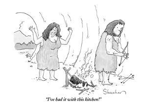 (A cavewoman raises her arms in anger, looking at a failed attempt to cook? - New Yorker Cartoon by Danny Shanahan