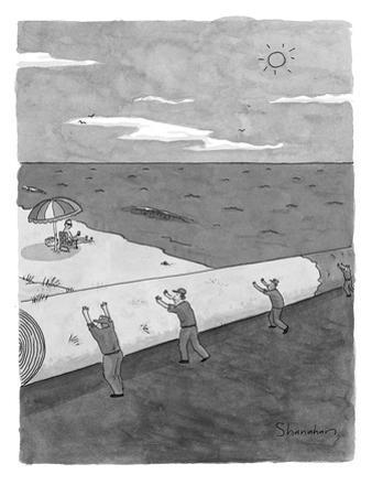 A startled man in a beach chair looks up as a ground crew rolls up the bea… - New Yorker Cartoon by Danny Shanahan