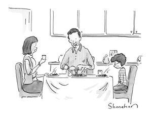 """""""And if you don't finish your vegetables, Daddy will take you to a Knicks ?"""" - New Yorker Cartoon by Danny Shanahan"""