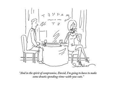 """And in the spirit of compromise, David, I'm going to have to make some dr…"" - Cartoon by Danny Shanahan"