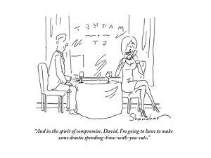 """And in the spirit of compromise, David, I'm going to have to make some dr?"" - Cartoon by Danny Shanahan"