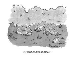"""""""At least he died at home."""" - New Yorker Cartoon by Danny Shanahan"""