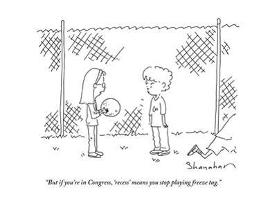 """But if you're in Congress, 'recess' means you stop playing freeze tag."" - Cartoon by Danny Shanahan"
