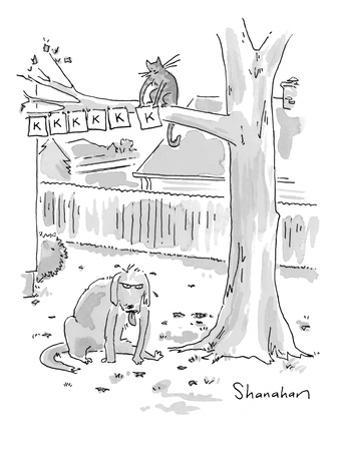 Cat in tree hanging signs with 'K's on them as tired dog sits beneath tree. - New Yorker Cartoon by Danny Shanahan