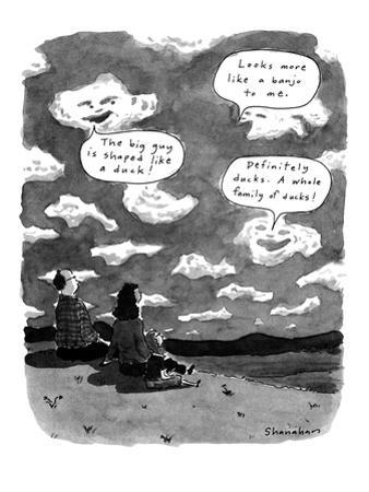Clouds commenting on shapes of people. - New Yorker Cartoon by Danny Shanahan