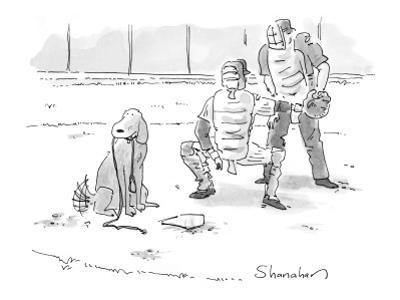 Dog at home plate with a leash in his mouth, waiting for pitcher to walk h… - New Yorker Cartoon by Danny Shanahan