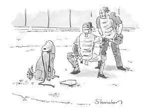 Dog at home plate with a leash in his mouth, waiting for pitcher to walk h? - New Yorker Cartoon by Danny Shanahan