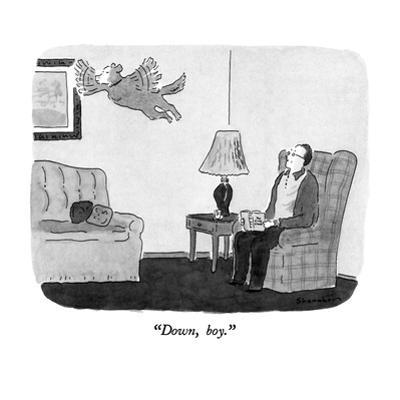"""Down, boy."" - New Yorker Cartoon by Danny Shanahan"
