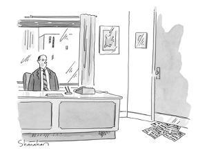 Executive at of?ce desk looks at pile of 'While You Were In' slips stuffed? - New Yorker Cartoon by Danny Shanahan