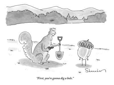 """""""First, you're gonna dig a hole."""" - New Yorker Cartoon by Danny Shanahan"""