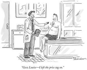 """Geez Louise—I left the price tag on."" - New Yorker Cartoon by Danny Shanahan"