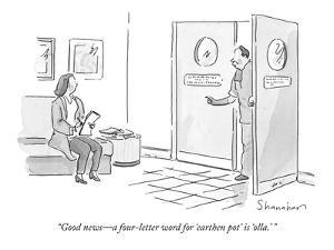"""Good news?a four-letter word for 'earthen pot' is 'olla.'"" - New Yorker Cartoon by Danny Shanahan"
