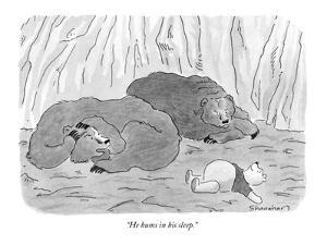 """""""He hums in his sleep."""" - New Yorker Cartoon by Danny Shanahan"""