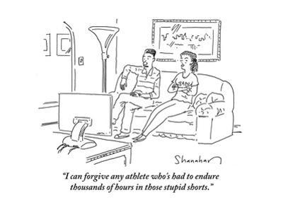 """""""I can forgive any athlete who's had to endure thousands of hours in those…"""" - Cartoon by Danny Shanahan"""