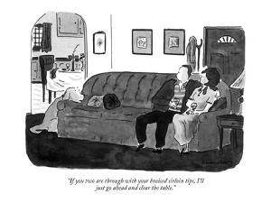 """If you two are through with your braised sirloin tips, I'll just go ahead?"" - New Yorker Cartoon by Danny Shanahan"