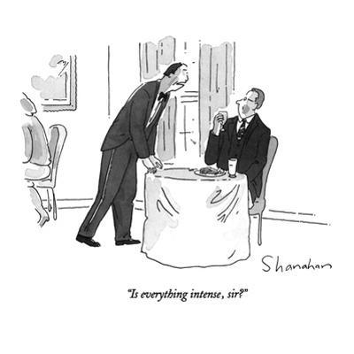 """""""Is everything intense, sir?"""" - New Yorker Cartoon by Danny Shanahan"""