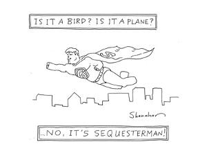 Is it a bird? Is it a plane? ...No, it's Sequesterman! - Cartoon by Danny Shanahan