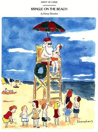 Kringle On The Beach - New Yorker Cartoon by Danny Shanahan