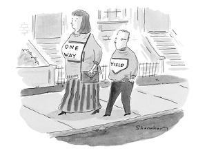 Large woman and small man walking on sidewalk; her shirt reads 'One Way' a? - New Yorker Cartoon by Danny Shanahan