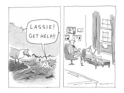 """Lassie! Get help!"" - New Yorker Cartoon"