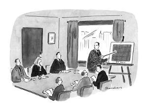 Man at a meeting points to a chart which matches the pattern of the busine? - New Yorker Cartoon by Danny Shanahan