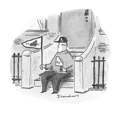 Man on the front stoop of his house with flag, sweatshirt and cap that say… - New Yorker Cartoon by Danny Shanahan