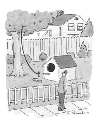 Man walks by a large dog house sized, bird house with a leash leading up i… - New Yorker Cartoon by Danny Shanahan