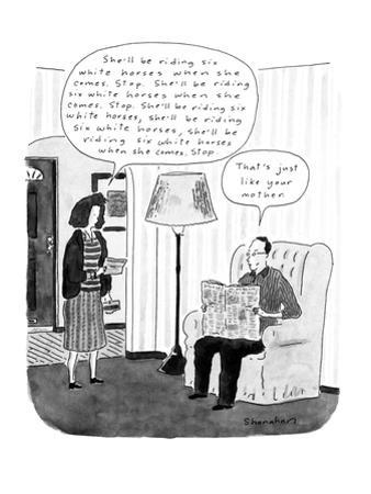 "Married couple are in their living room and the man's wife reads a telegra…"" - New Yorker Cartoon by Danny Shanahan"