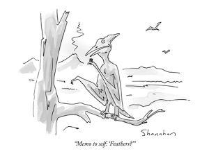 """Memo to self: 'Feathers?'"" - New Yorker Cartoon by Danny Shanahan"