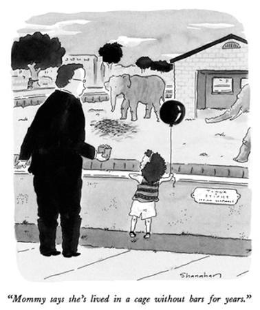 """Mommy says she's lived in a cage without bars for years."" - New Yorker Cartoon by Danny Shanahan"