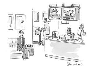 Monitors show images of the newly born and the newly deceased, in hospital? - New Yorker Cartoon by Danny Shanahan