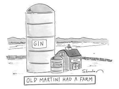 """Old Martini Had A Farm"" - New Yorker Cartoon"