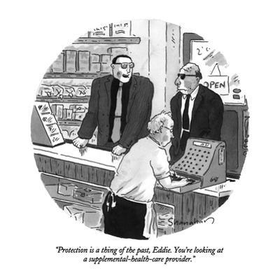 """""""Protection is a thing of the past, Eddie.  You're looking at a supplement?"""" - New Yorker Cartoon by Danny Shanahan"""