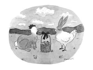 Rabbit with chicken's head and chicken with rabbit's head stare at one ano? - New Yorker Cartoon by Danny Shanahan