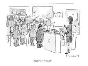 """Shovel your runway?"" - New Yorker Cartoon by Danny Shanahan"